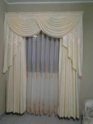 Como hacer una cenefa cascada con flecos laterales - Como hacer un bando para cortinas ...