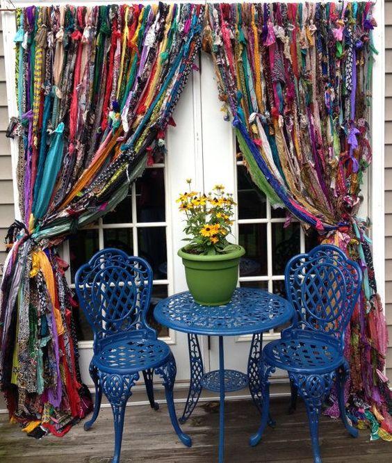 como hacer cortinas artesanales con tiras de tela