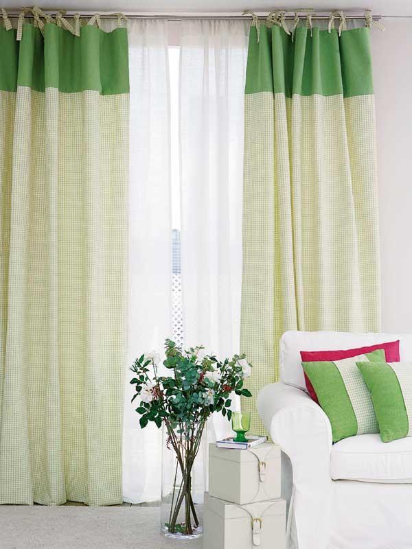Como hacer cortinas de sal n con dos tonos de color - Ver telas de cortinas ...