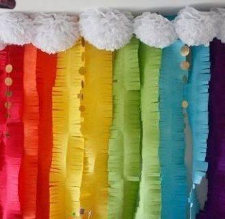 Como hacer cortinas para fiestas, usando papel crepe.