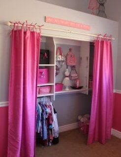 Cómo hacer cortinas para closets con tiras amarrables.