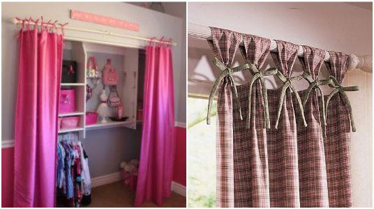 C mo hacer cortinas para closets con tiras amarrables for Cortinas para puertas de armarios